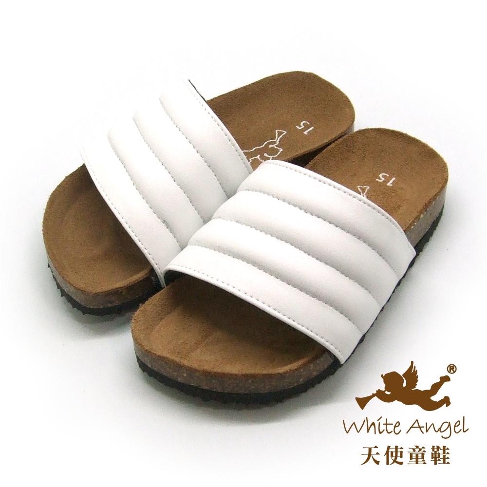 天使童鞋 米羅貝殼親子拖鞋(超大童)-白 J775