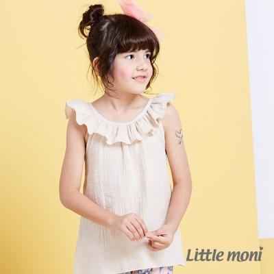 Little moni清甜荷葉女孩無袖襯衫 淺米色