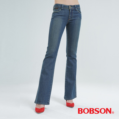 BOBSON 銀色刺繡伸縮小喇叭褲 (中藍)