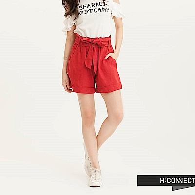 H:CONNECT 韓國品牌 女裝 - 高腰綁帶棉麻短褲-紅(快)