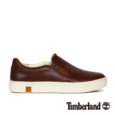 Timberland-女款咖啡色素面雙側拉鍊輕便休