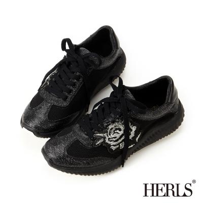 HERLS 夏日氣息 俏皮繡花休閒鞋 -黑色