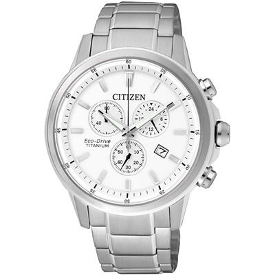 CITIZEN 光動能 鈦金屬三眼計時腕錶(AT2340-81A)-銀/42mm