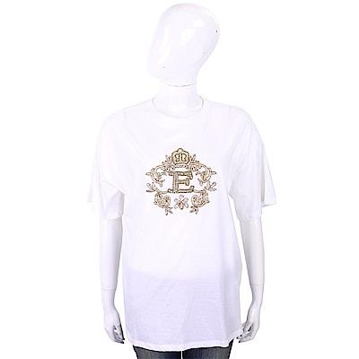 ERMANNO SCERVINO 金色繡線鑽花皇冠圖騰白色純棉T恤