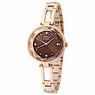 ELLE 寧靜夜空鑽石切面不鏽鋼腕錶-咖啡金/32mm