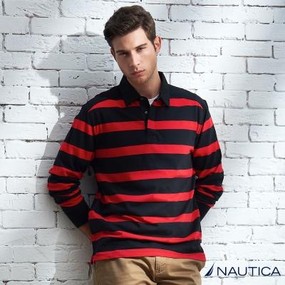 Nautica 經典時尚條紋POLO衫 -紅黑