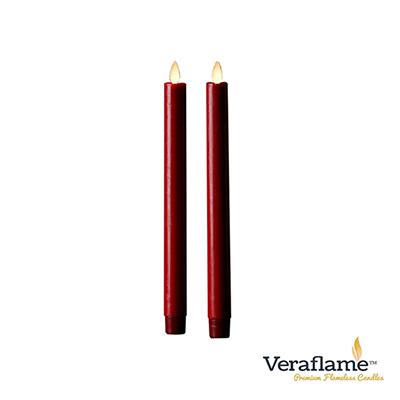 Veraflame 擬真火焰長條蠟燭組- 8吋(紅色)