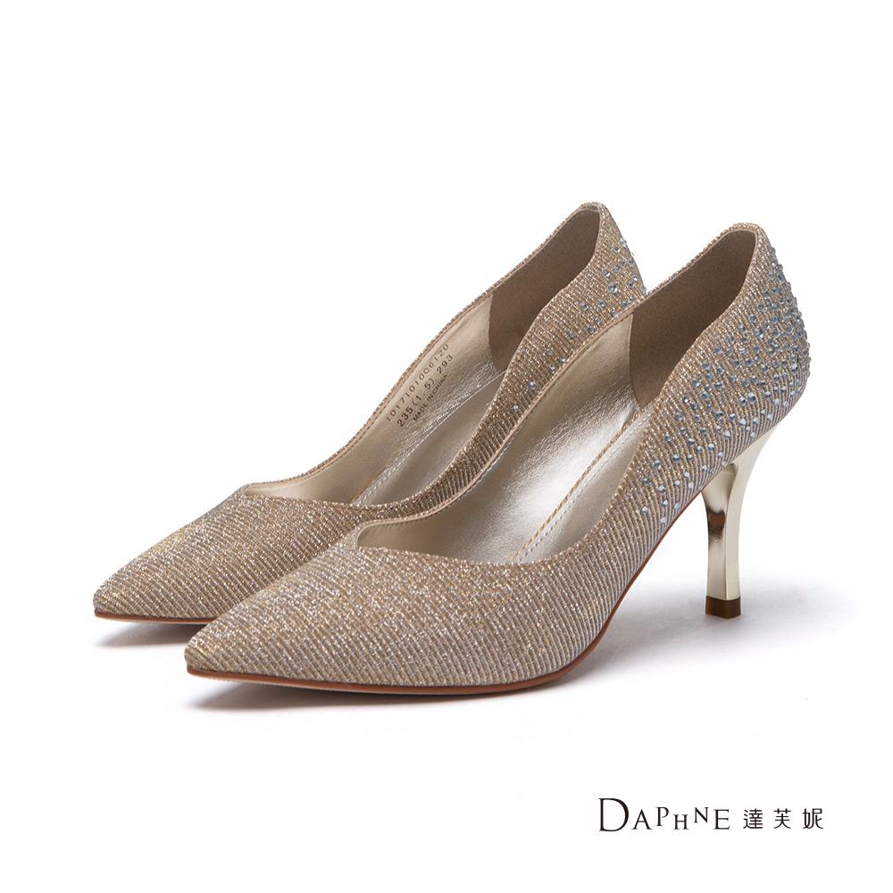 達芙妮DAPHNE 高跟鞋-水鑽金蔥曲線尖頭鞋-金