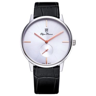 Olym Pianus奧柏表  簡約風尚小秒針時尚腕錶-黑皮帶/40mm