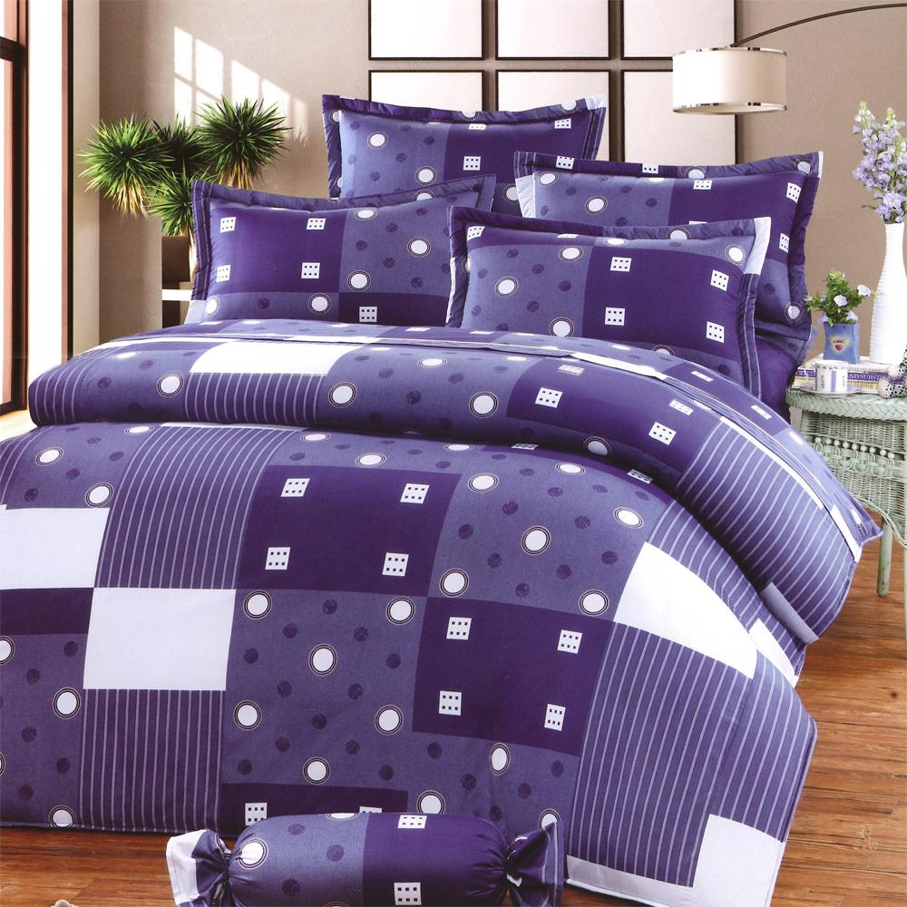 湛藍 台灣製雙人五件式純棉床罩組