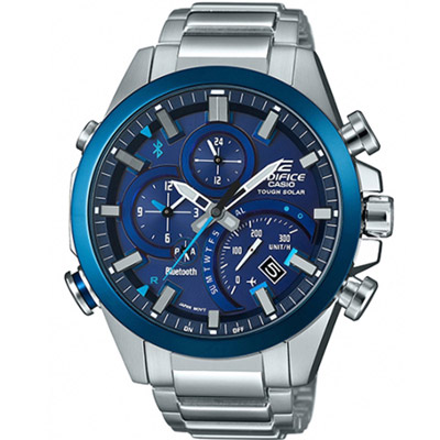 EDIFICE  多功能藍牙智慧錶(EQB-501DB-2A)藍/ 48.1  mm