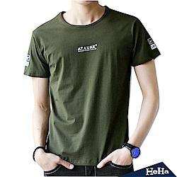 棉質彈性個性印花短袖T恤 三色-HeHa