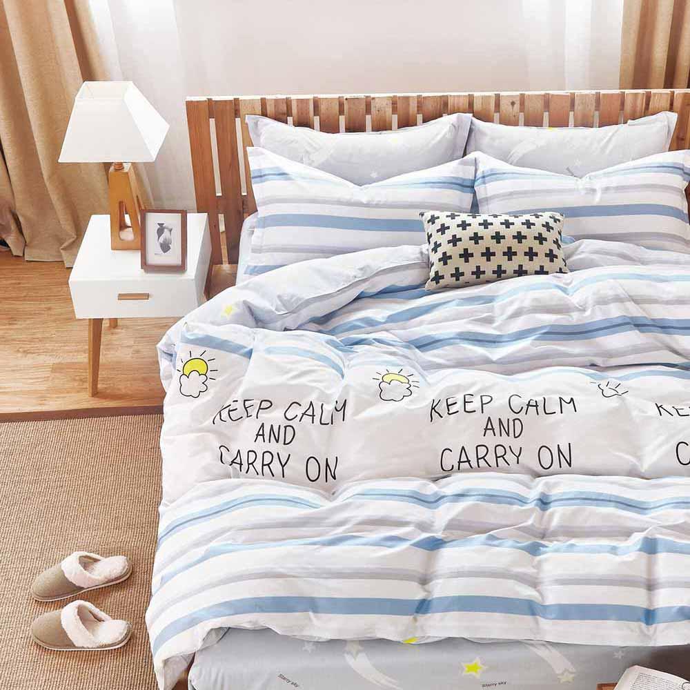 Ania Casa 台灣製 100%純棉 - 雙人床包枕套三件組- 白色戀人