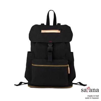 satana - 拼接束口後背包 - 黑色