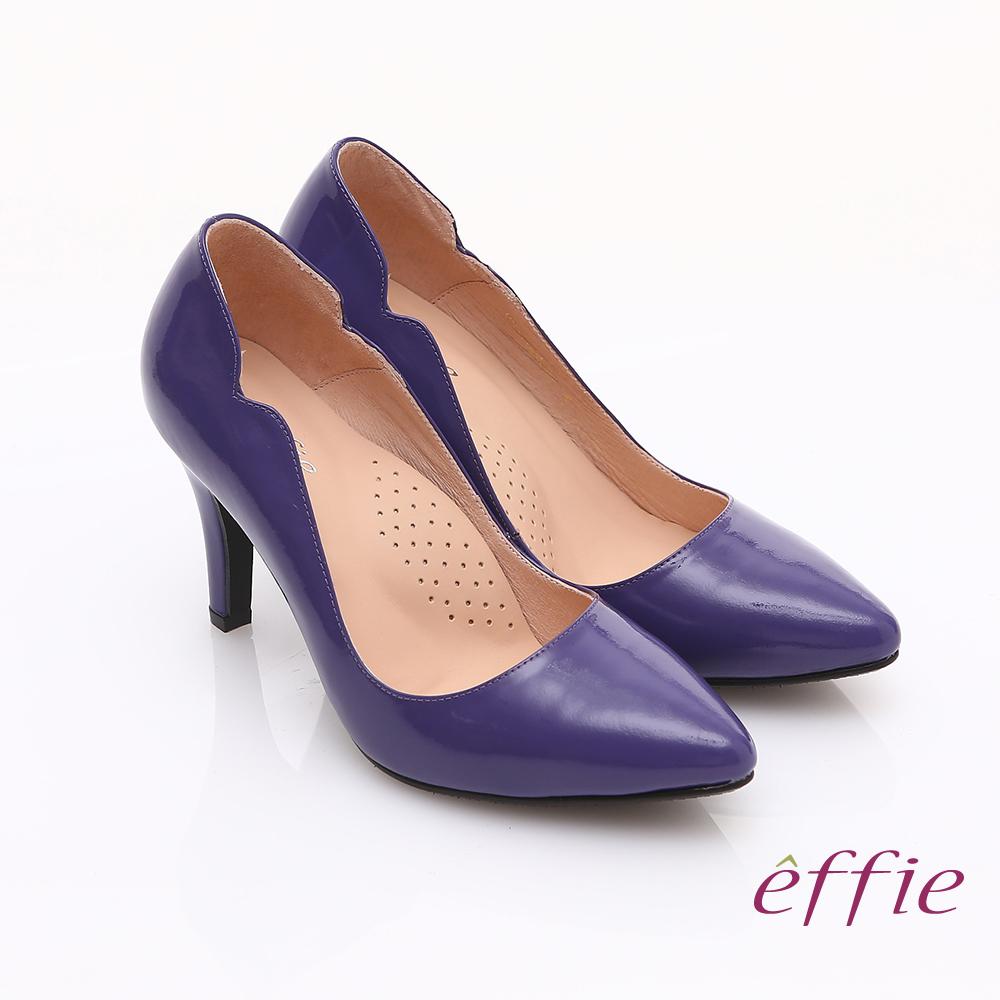 effie 輕透美型 鏡面牛皮側邊獨特線條素色高跟鞋 紫