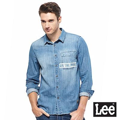 Lee 牛仔長衫襯衫-男款-藍