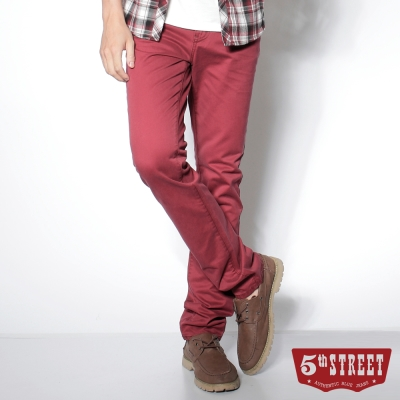 5th STREET 易搭品味 街霸純棉休閒色褲-男款(紅色)