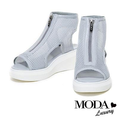 涼鞋 MODA Luxury 運動個性風牛皮拼接網布造型厚底高筒涼鞋-淺灰