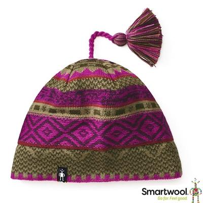 【美國 SmartWool】Dazzling 美麗諾羊毛 夢幻仙境小圓帽_紫莓/綠