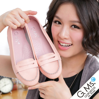 【G.Ms.】Q彈新主張‧簡約莫卡辛真皮內增高豆豆鞋‧櫻花粉