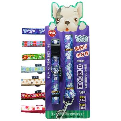 寵物物語頸圈拉繩組中型犬用