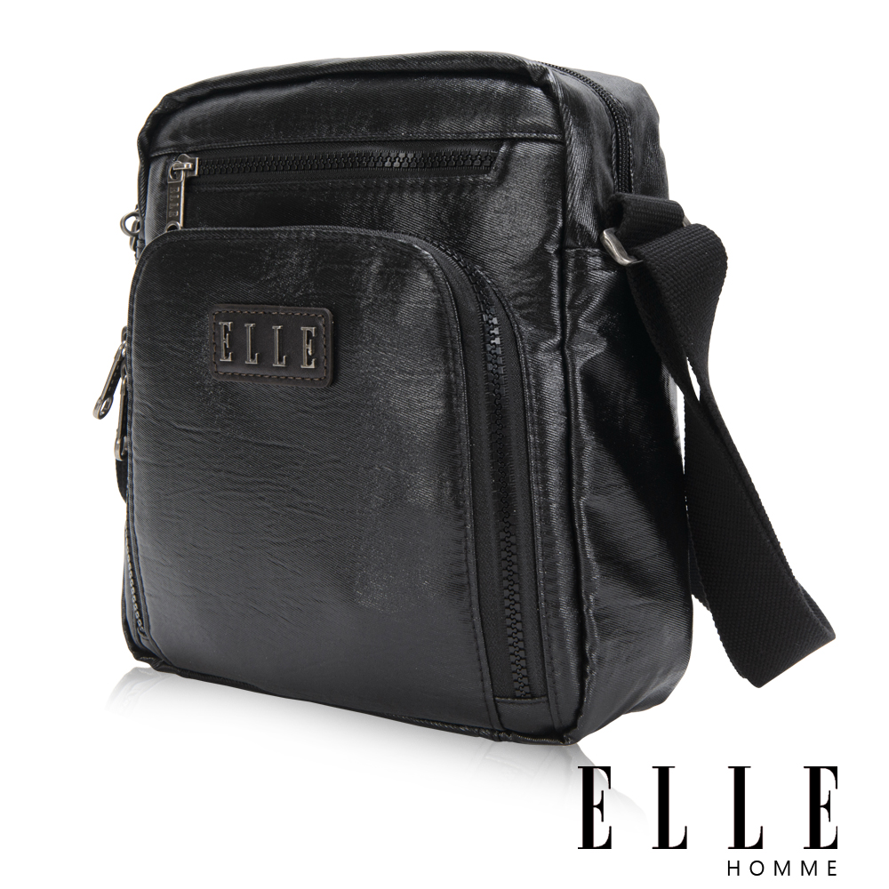 ELLE HOMME 時尚閃耀金蔥 IPAD/扣層 休閒側背包 頂級閃耀輕量化布料-黑