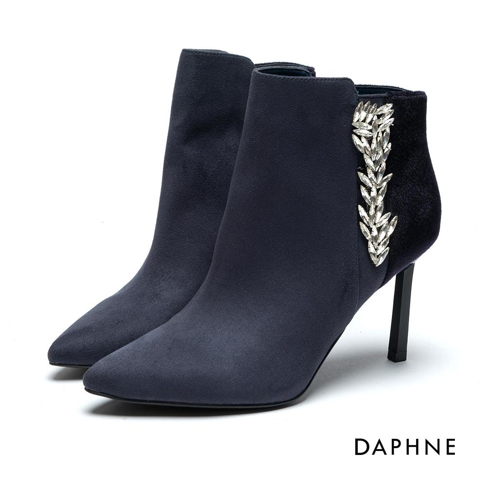 達芙妮DAPHNE 短靴-絨布拼接歐風鑽飾高跟踝靴-深藍