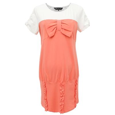 【ohoh-mini 孕婦裝】拼接美國風貼身曲線孕婦洋裝