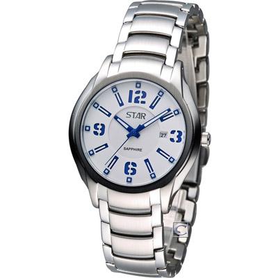 STAR 時代 時尚摩登仕女腕錶-藍-34mm