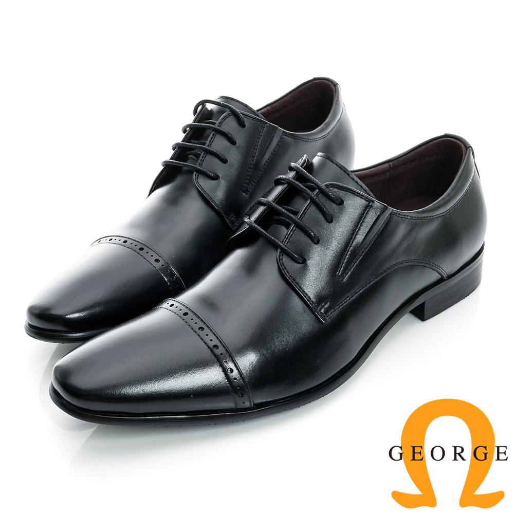 GEORGE-側V切口橫紋裝飾真皮紳士鞋-黑色