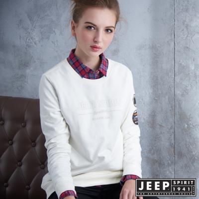 JEEP 女裝 美式時尚徽章造型長袖TEE-白色