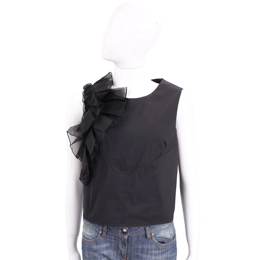 Maria Grazia Severi 黑色立體皺褶拼接無袖上衣