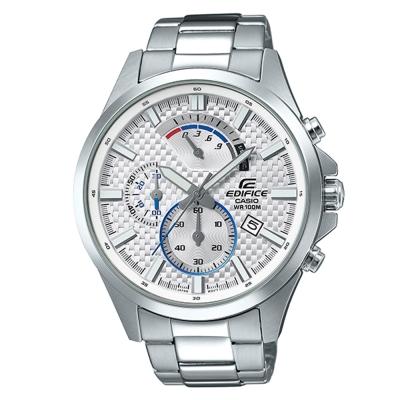 EDIFICE編織感格紋三眼設計賽車計時腕錶(EFV-530D-7A)白面47.2mm