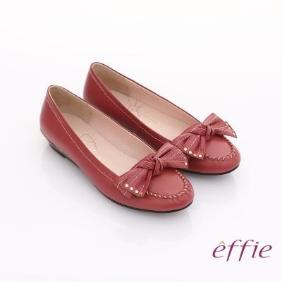 effie 俏麗悠活 真皮蝴蝶結金屬楔型低跟鞋 紅