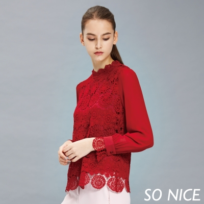 SO-NICE極光紅優雅蕾絲上衣-動態show