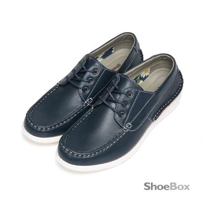 鞋櫃ShoeBox-立體縫線繫帶厚底休閒男鞋-牛仔深藍