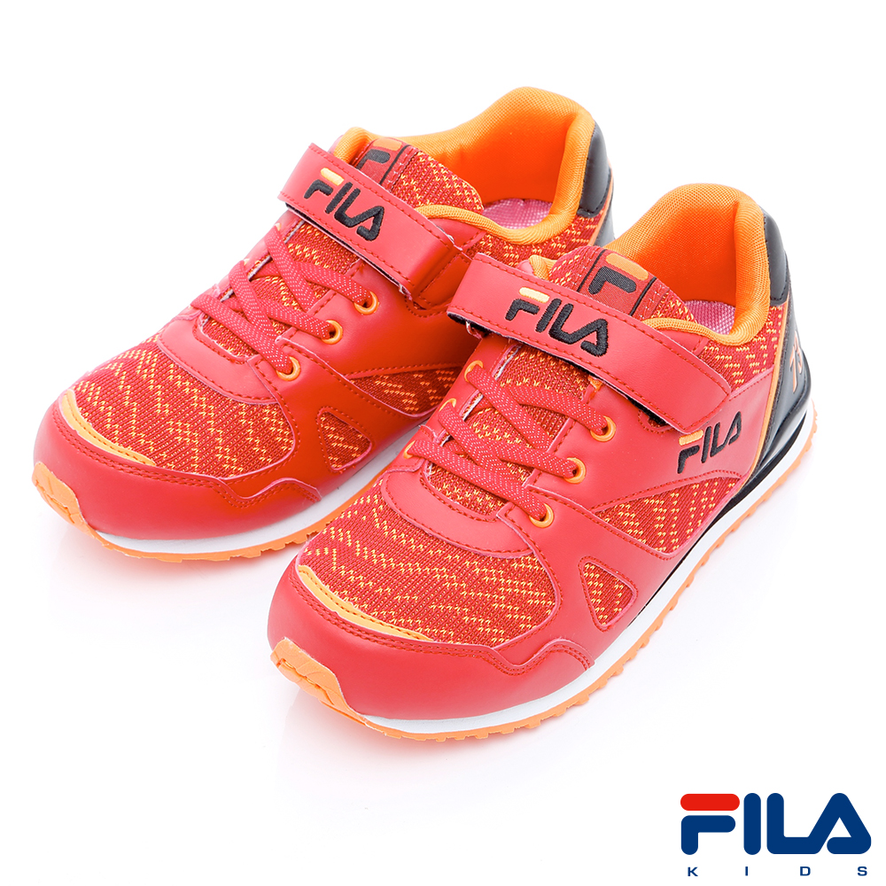 FILA KIDS中童EVA經典慢跑鞋-紅黑2-J430R-200