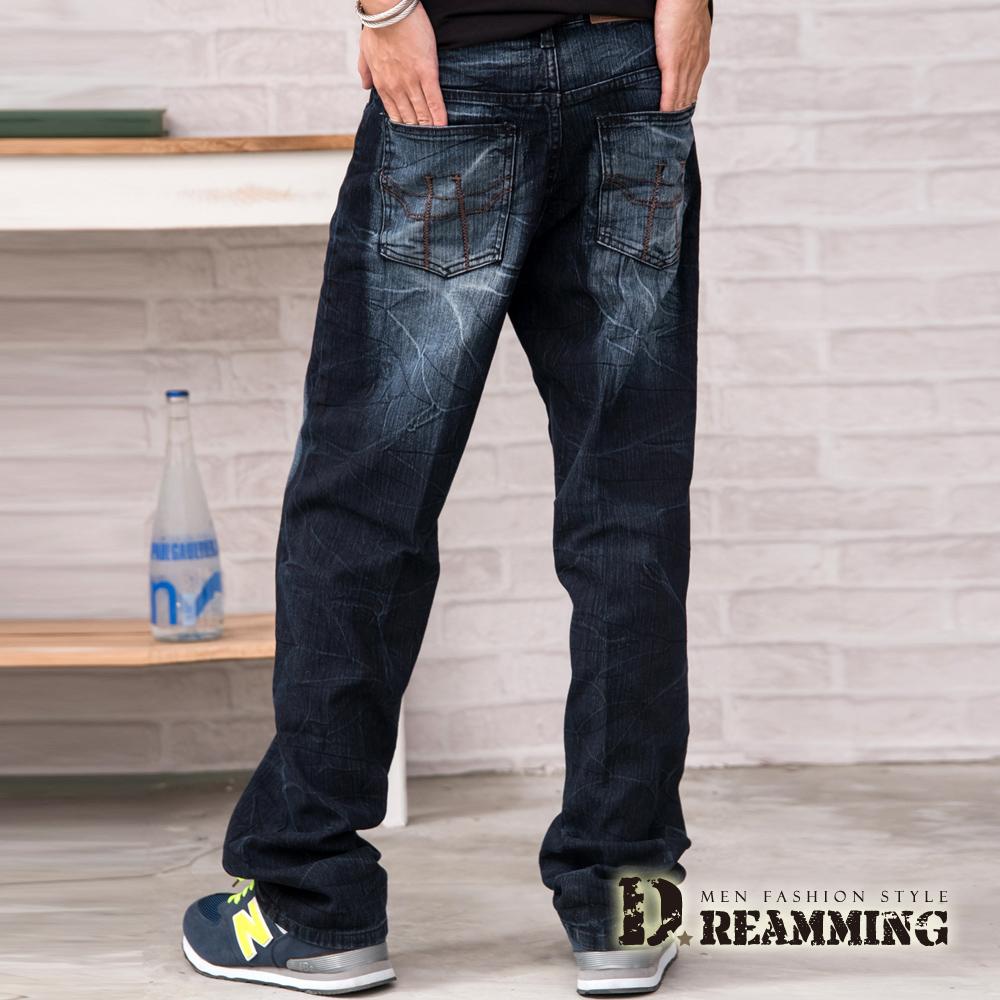 Dreamming 繡線造型刷色壓皺伸縮中直筒牛仔褲-藍色