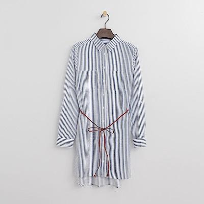 Hang Ten - 女裝 - 條紋綁腰襯衫洋裝-藍色