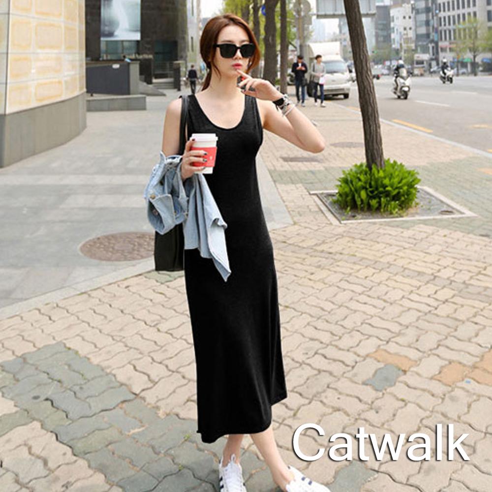 背心裙  純色百搭長版背心裙(黑)-Catwalk