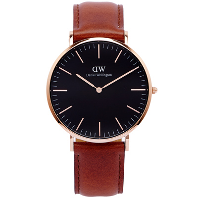 DW Daniel Wellington 經典Mawes手錶-黑面x咖啡色/40mm