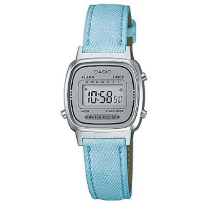 CASIO 經典小巧簡約數位皮帶錶(LA670WL-2A)-灰框X水藍/24.6mm
