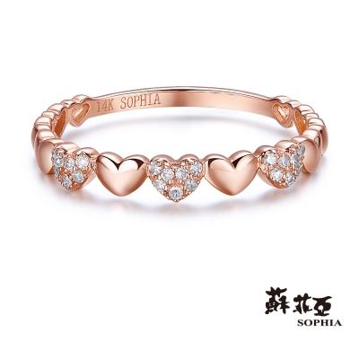 蘇菲亞SOPHIA 鑽戒 - 立體愛心玫瑰金14K線戒