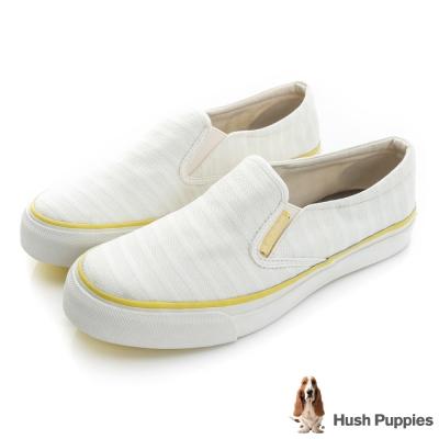 Hush Puppies 無印風網條咖啡紗中性懶人鞋-白色