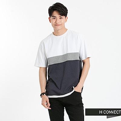 H:CONNECT 韓國品牌 男裝-色塊組合T-Shirt-白