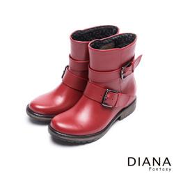 DIANA 時尚雨靴--質感木紋百搭經典方釦工程雨靴-紅