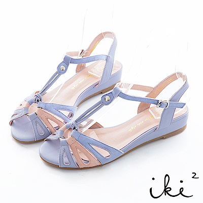 iki2 甜美一夏 復古撞色小坡跟鞋-紫
