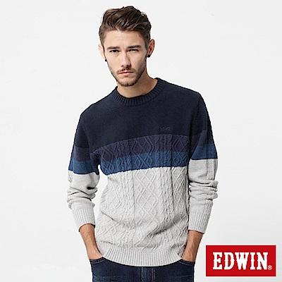 EDWIN  漸層麻花線衫-男-丈青