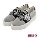 BESO  都會街頭 魔術帶飾釦條紋真皮休閒鞋~黑