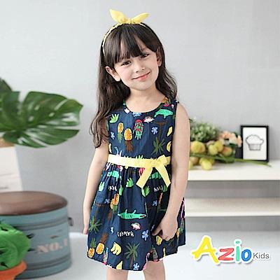 Azio Kids 童裝-洋裝 熱帶水果動物無袖洋裝(深藍)